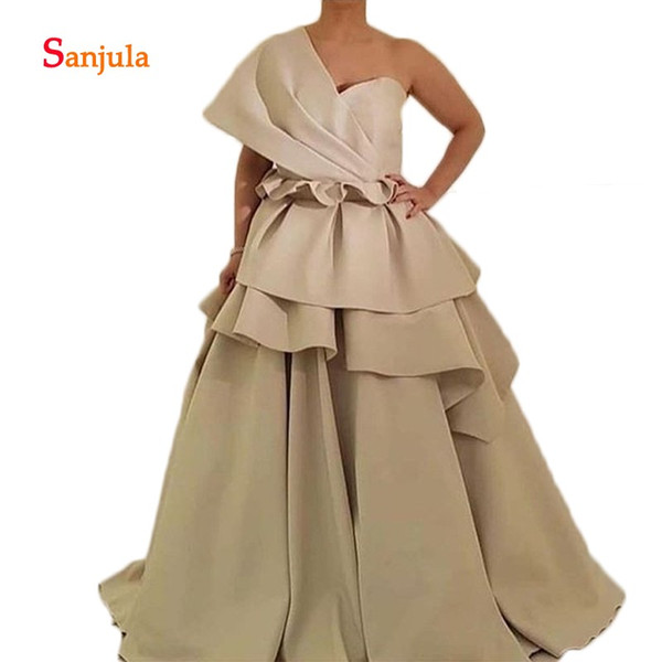 one shoulder saudi arabic evening dresses puffy a-line peplum tieres african women formal party gowns robe soiree d1127