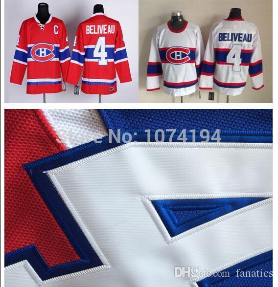Free Shipping Discount Montreal Canadiens #4 Jean Beliveau Jersey Authentic Red White Embroidery 100% Stitched Hockey Man Jersey
