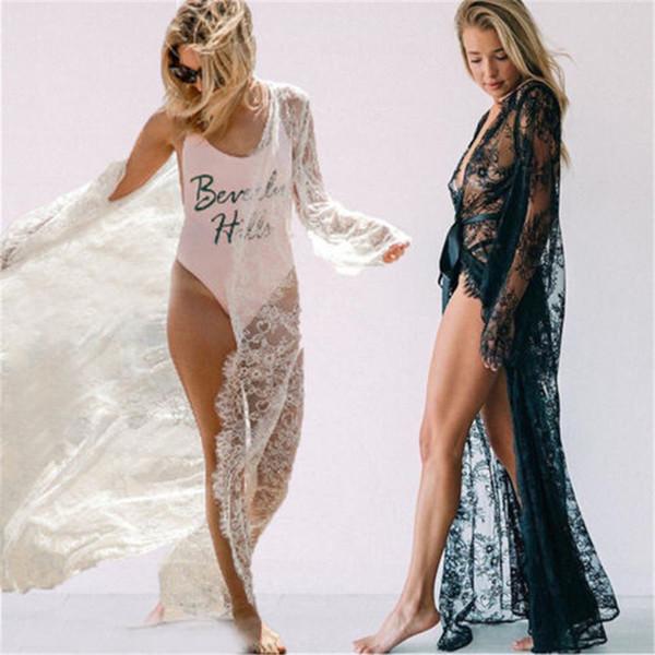 Womens Lace Sexy malha oco Night Dress Robes See-Through longa Maxi Underwear Lingerie Babydoll Pijamas Roupa de Noite Vestido sono