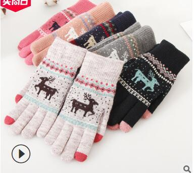 dhl free New Hot Sale Fashion Guantes Men &Women Winter Warm Gloves 4 Colors Knitting Snowflake Pattern Full Finger Gloves&Mittens Luvas