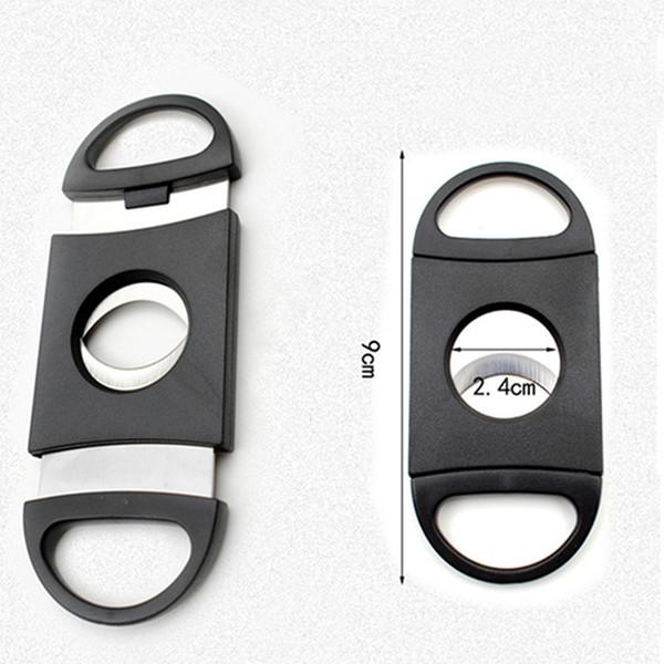 Yeni Siyah Cep Plastik Paslanmaz Çelik Tütün Kesici Çift Bıçakları Puro Bıçak Makas Tütün Sigara Aksesuarları DH0144