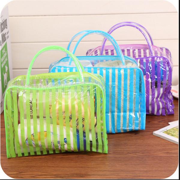 4 Arten Transparente Kosmetiktaschen Reise Wasserdichte PVC Clear Wash Bad Organizer Tasche Reißverschluss Make-Up Fall Strand Tragetaschen handtaschen FFA2811