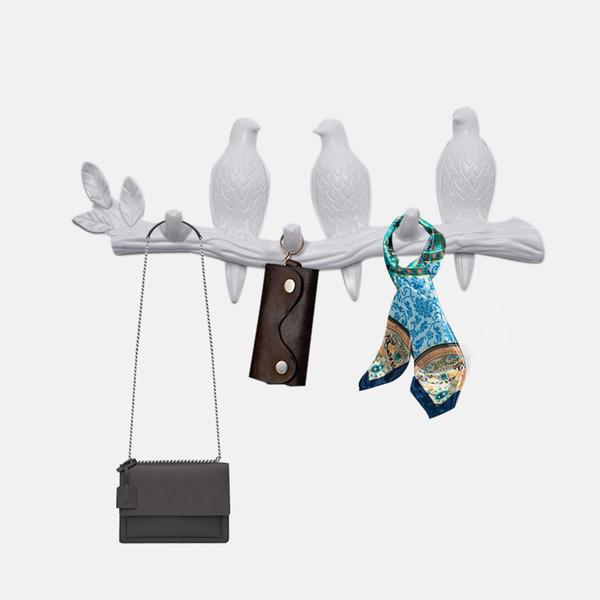 Soggiorno appendiabiti a parete Decorazioni domestiche accessori in resina Uccello chiave da letto cucina Clothes Coat portasalviette Ganci Cappello borsa