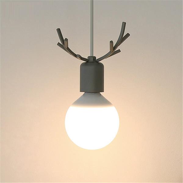 Nordic Creative Restaurant Pendant Lights Korean Cute Kids Room Elk Horn Dining Room Bedroom Living Room LED Lamps Decor Fixture