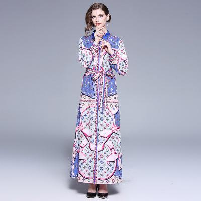 Vestido de impresión con cuello de solapa para las mujeres de la moda de primavera, vestidos ajustados y finos, manga larga, 100% poliéster