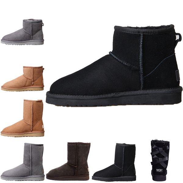 Australia women boots Sıcak Satış Kar Kış Kadın Avustralya Klasik diz yarım çizmeler Ayak Bileği çizmeler Üçlü Siyah Gri pembe kestane lacivert kahve Bayan kız ayakkabı