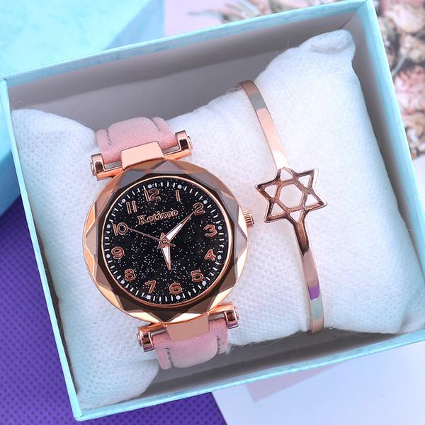 Moda Starry Sky Kadınlar Saatler Üst Satış Deri Bayanlar Bileklik Saat Kuvars Casual Kadın Saat Relogio Feminino Kol saatı