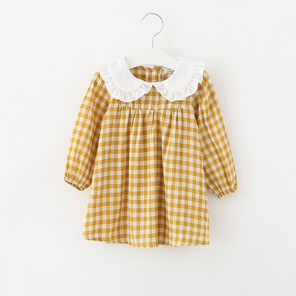 2018 Spring New Pretty Girls Dress Lovely Plaid Print Long Sleeve Ruffles Collar Kids Dress Baby Girl Clothes Princess Dresses J190506