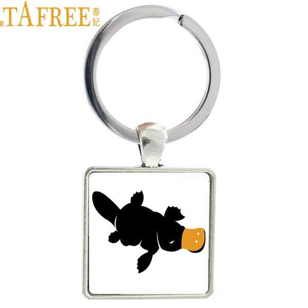 TAFREE Cute Platypus Keychain Square Metal Keyrings Key Buckle Animal Art Picture Jewelry Gift For Women Men Kids J405