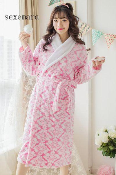 2017 sexemara new arrival fashion women sleeping cloth feel comfortable flannel White-collar pajamas free shipping