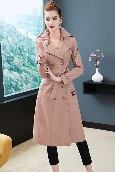 women's trench coats gabardine long windbreaker belt waterproof new english style autumn winter solid color british double breasted 95b