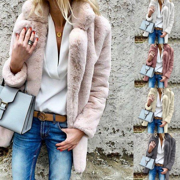 Señoras cuello de la solapa de invierno prendas de vestir exteriores delgado color sólido abrigos suaves Tops para mujer abrigos abrigos 5 colores S-3XL