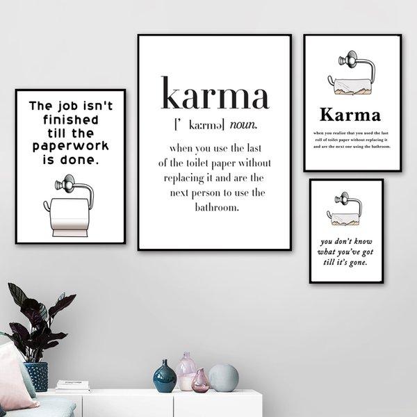 Забавный плакат Туалетная бумага Karma Скандинавские Плакаты и печать искусства стены холст картины скандинавской стене Картины для ванной Декор