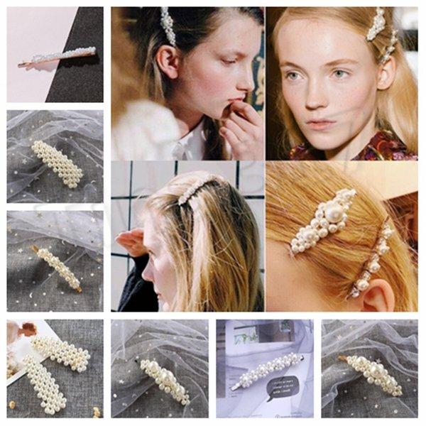 top popular Korean ins pearl hairpin schoolgirl temperament A word clip web celebrity bangs clip beautiful headdress T2C5038 2019