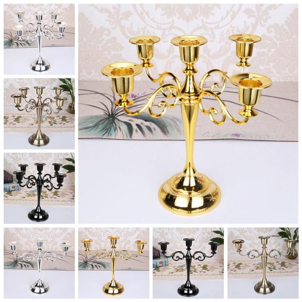 Bougeoirs en métal piliers 3 5 bras chandelier Stand Mariage candélabres 4 couleurs décoration de mariage OOA6393