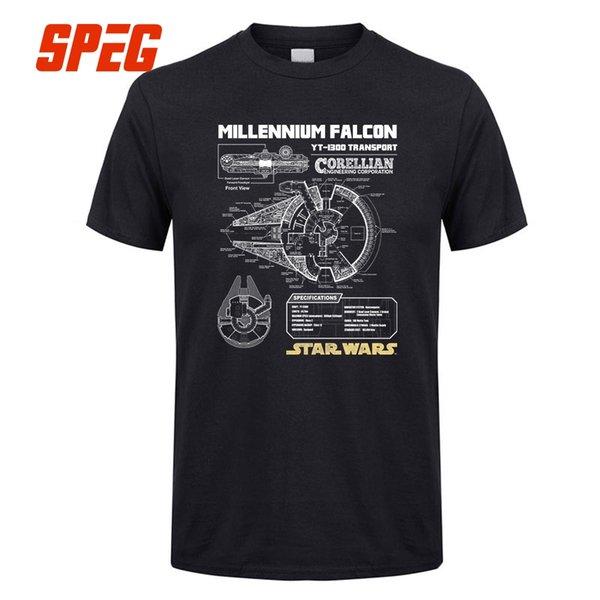 Millennium Falcon Şemaları Erkekler Kaliteli Luxxry Pamuk Kısa Kollu T-Shirt Yuvarlak Boyun Büyük Indirim Erkekler T Shirt