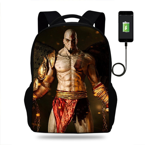 17inch Game God Of War Mens College Backpack usb Charger Schoolbag for Laptop Backpacks for Teenage School Bag Boys Mochila