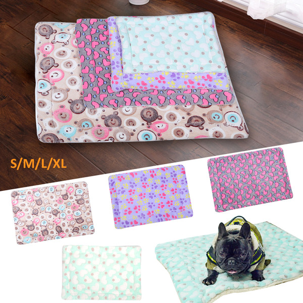 Dog Bed Mats Soft Flannel Foot Print Warm Pet Blanket Sleeping Beds Cover Mat For Small Medium Dogs Cats