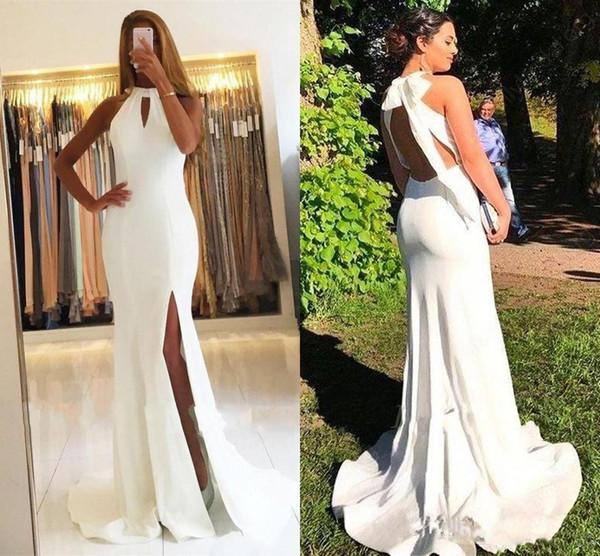 Zarif Beyaz Mermaid Abiye Keyhole Halter Uzun Balo elbise Yüksek Bölünmüş Afrika Siyah Kızlar Arapça Backless Parti Elbise