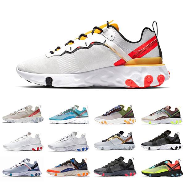 NIKE React element 55 87 Mavi Glow Belçika Epic React Anında Gitmek Fly erkekler kadınlar koşu ayakkabıları siyah gerçek beyaz nedensel mesh Nefes spor Atletik eğitmen sneakers