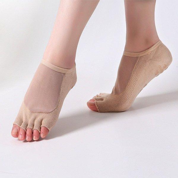 Women Yoga Five Toe Anti-Slip Ankle Grip Socks Dots Pilates Transparent Silk Breathable Fitness Gym Socks Ladies Sports