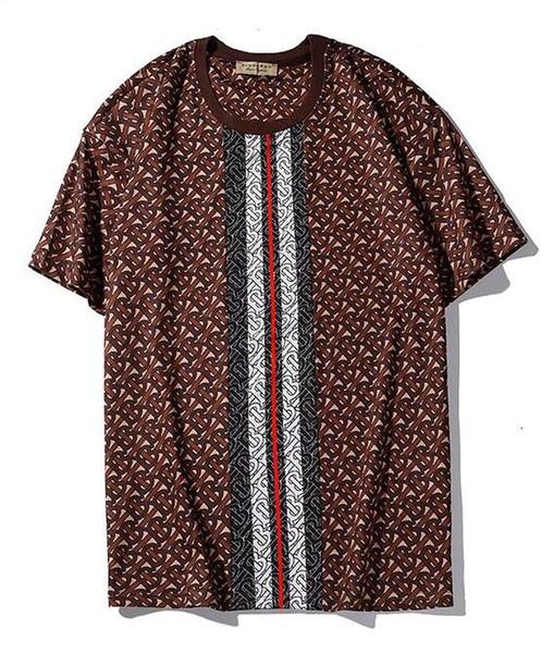 2019 nuovo tee burb uomini donne T shirt a righe lettera LOGO Stampa diretta a spruzzo digitale T-Shirt manica corta O-Collo T-Shirt all'ingrosso S-XXL