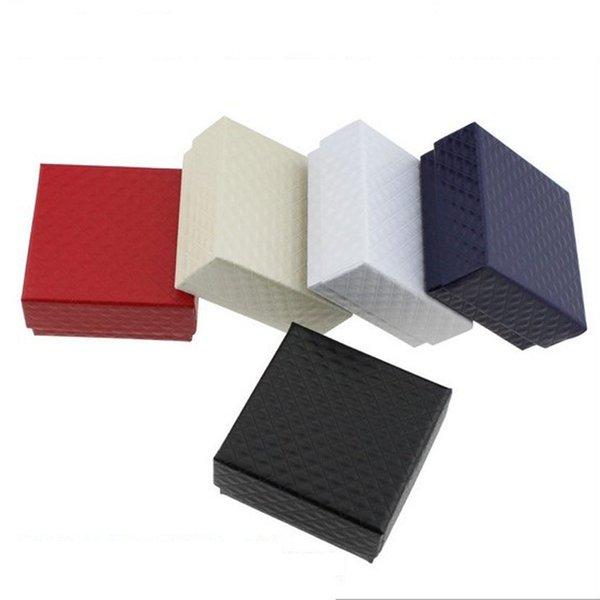100 unids / lote 7.3 cm x 7. 3 cm x 3.5 cm forma cuadrada aretes de joyería anillos cajas de regalo caja de arco cuadrado negro al por mayor