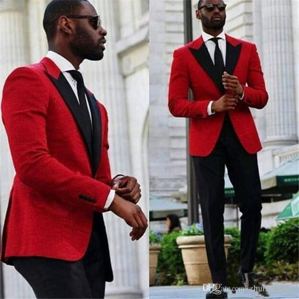 2018 Cheap Red Wedding Groom Tuxedos Two Piece Black Peaked Lapel Custom Made Groomsmen Suits Men Prom party Suit (Jacket+Pants)