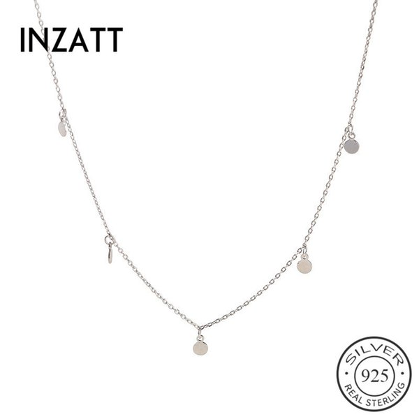 INZATT real 925 Sterling Silver Geometric Partido mulheres round Gargantilha Colar Para Belas jóias de 2019 Acessórios