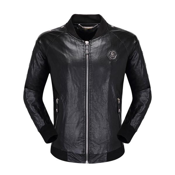 top popular mens designer skulls Faux Leather jacket hip hop fashion brand clothing Casual winter coat High Quality man luxury biker jacket Size M-3XL 2019