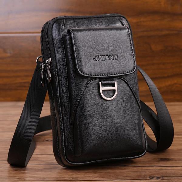 JI WANG nuovo modo della pelle bovina Vera Pelle Vintage vita imballa sacchetto del telefono mobile del sacchetto della vita della cinghia di viaggio pacchetto di Fanny Hip Bag