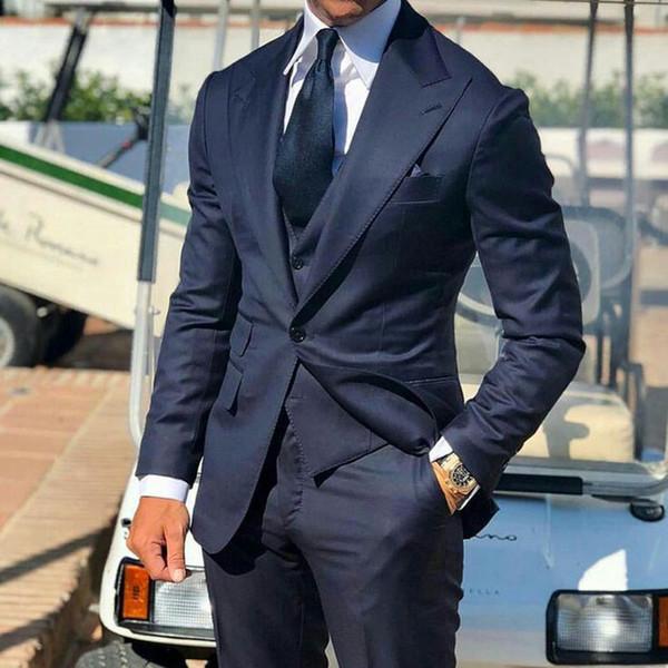 Lacivert Erkekler İş Damat Smokin Son Tasarım Trajes de hombre Geniş Peaked Yaka Slim Fit Damat Kıyafet Sağdıç Blazer 3piece Takımları