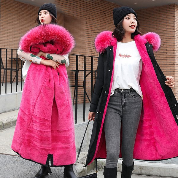 Nouveau Femmes Mode manches longues d'hiver de maintien au chaud style long à capuche couleur solide veste vers le bas 7505
