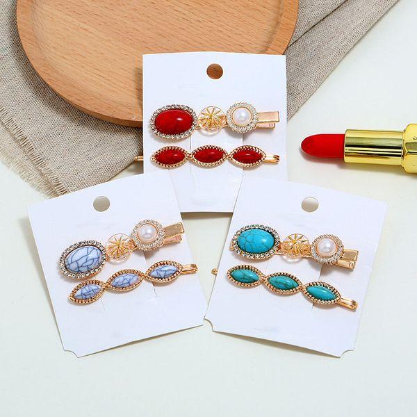 Korea Mode Frauen Metall Candy farbe Haarnadeln Imitation Perle Türkis Perlen Haarspangen Unregelmäßige Geometrische Haar Styling Zubehör