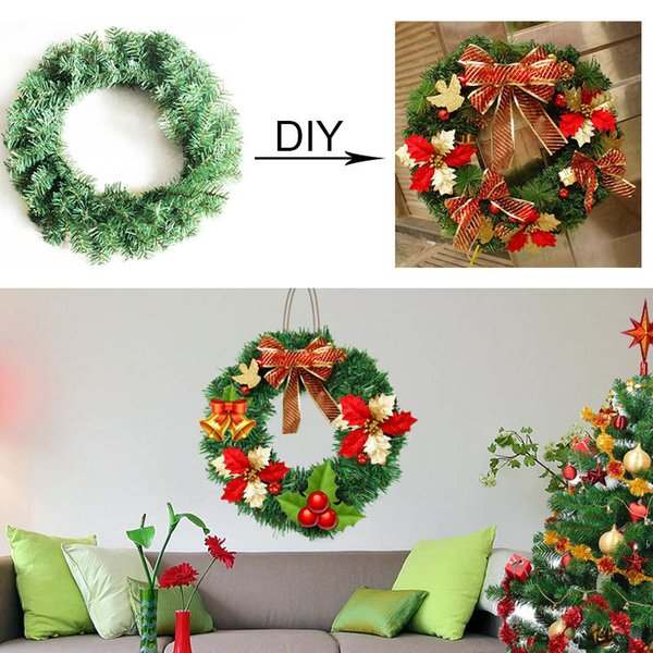 Christmas Garland Pure Green Bare Diy Xmas Door Hanging Wreath Christmas Decor Dia 30 40 50 Cm Need To Decoratt It Yourself Outdoor Christmas