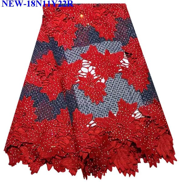 Red African Lace Fabrics 5 Yard Red Guipure Lace Fabric 2018 High Quality African Cord Lace Fabric For Wedding Dress MSX-01