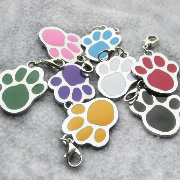100pcs/lot Paw Zinc alloy Blank Pet Dog ID Tags Laser Diamond Engravable Pet Dog Tags