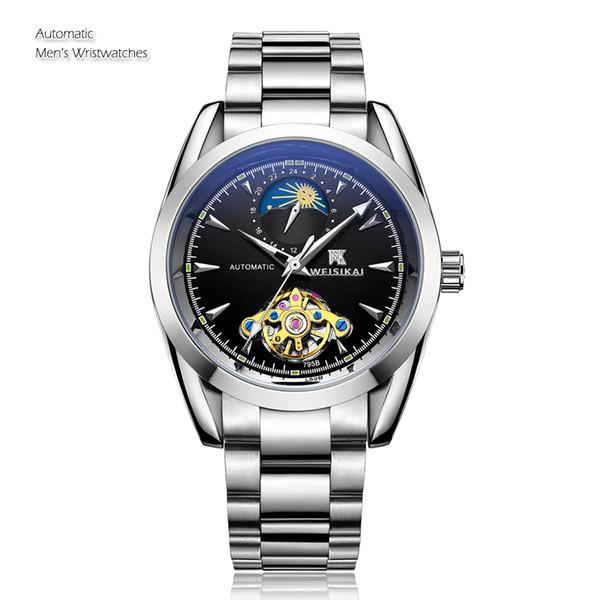 Clássico Mecânico Homens Negócio Relógio Top Marca de Luxo de Alta Qualidade Fase Da Lua Relógio De Pulso Automático Relogio masculino Relojes