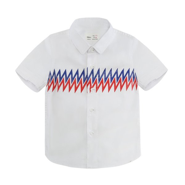 Boys Designer Shirts 2019 Summer New Luxury T Shirt Casual Geometric Pattern Top Trend Lightning Print Short Sleeve Childrens Clothing