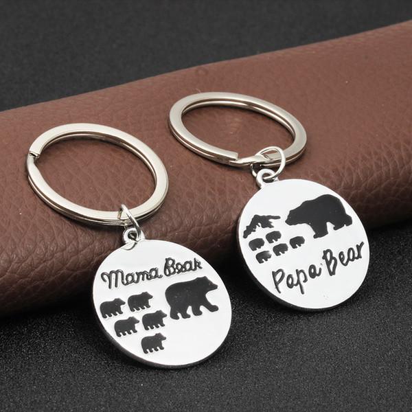 Criativo Mama Urso Carta Chaveiro Moda Papai Urso de Metal Chave Anéis Liga Família Titular Chave Casal Jóias