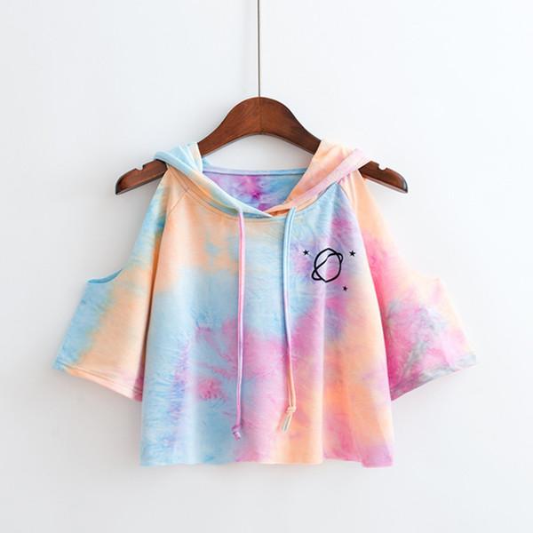 2019 Fashion Summer Women Tops Open Shoulder Hooded Tshirt 3/4 Sleeve T-shirt Multicolor Woman Top Tees Drawsting Casual Crop T Shirt