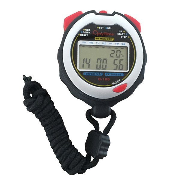 Stopwatch Sports Countdown Digital Display Timer Portable 10 Memory Alarm Referee Use Competition Waterproof Dual Row