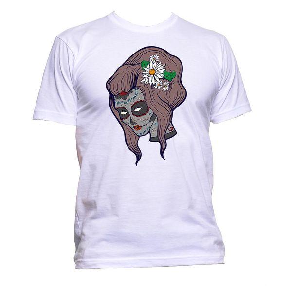 Sugar Skull Grey Coloured T-Shirt Mens Womens Unisex Fashion Slogan Comedy Gift Size Discout Hot New Tshirt Style Round Style tshirt