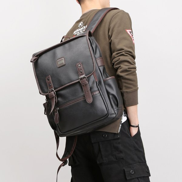 Mochilas de hombro de cuero de PU de alta calidad mochilas escolares para adolescentes niñas bolsa de ordenador portátil impermeable mochila de viaje 39 * 30 * 13 cm