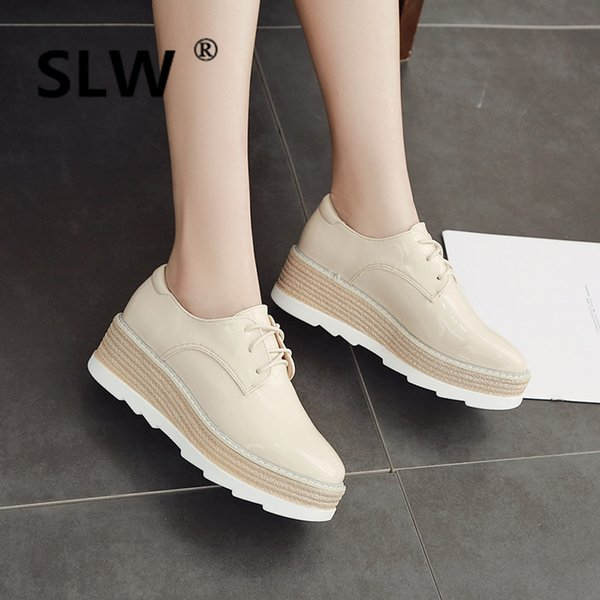 Solid Patent Leather Ballet Flats Casual Woman Platform Shoes Creepers Ladies' Footwear British Style All-Match Round Toe