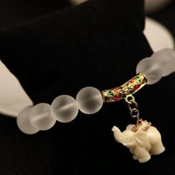 Fashion Jewelry Maitreya Elastic Chain Charm Buddha Beads Elephant Bracelet Matte Crystal Yoga Vintage Ethnic Trendy