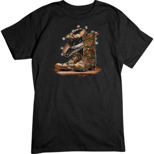 Cowboy Boots/Hat Xmas Lights - Holiday/Christmas Wholesale Tee Shirt Tee Shirt For Men Artist White Short Sleeve Custom Big Size Party Camis