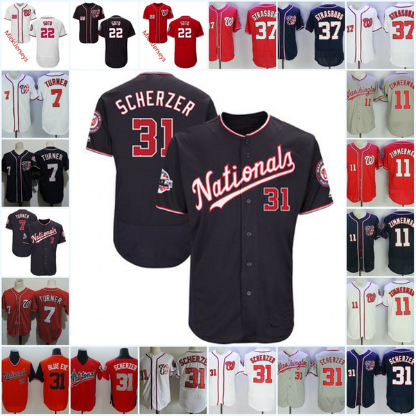 in stock de491 86249 2019 Mens #31 Max Scherzer Jersey Stitched 7 Trea Turner 11 Ryan Zimmerman  #22 Juan Soto 37 Stephen Strasburg Jerseys S 3XL From Xt23518, $16.48 | ...