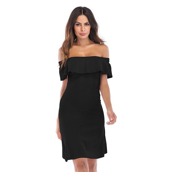 Muttertag Überraschung Damen Kleid europäischen und amerikanischen Kleid Sommer neuen Stil 2019 Ein-Wort-Kragen Schulter schlank Rock wickelte Hüfte Rock