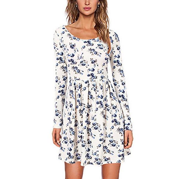 Женщины с цветочным принтом с длинным рукавом талии платье цельные платья винтажная мода для дам девушки весна осень хлопок платье одежда
